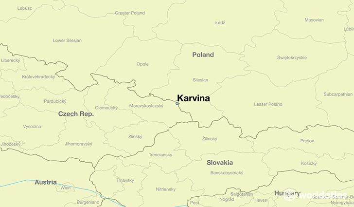 map showing the location of Karvina