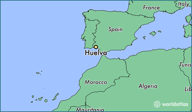 map showing the location of Huelva