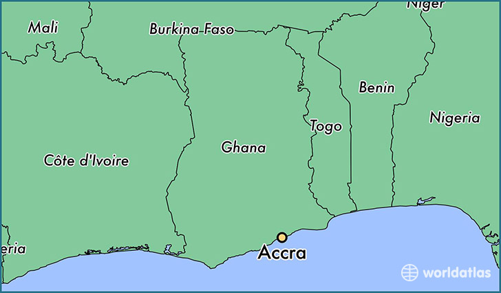 map showing the location of Accra
