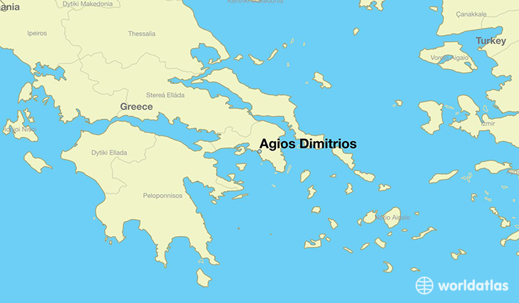 map showing the location of Agios Dimitrios