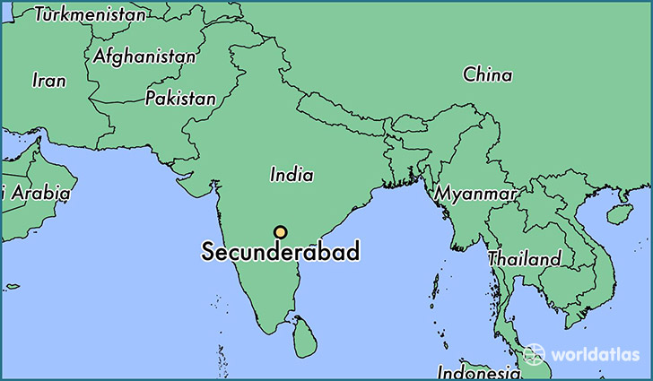 map showing the location of Secunderabad