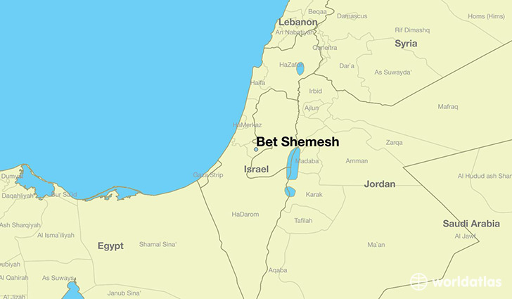 map showing the location of Bet Shemesh