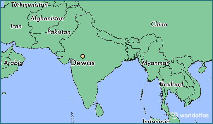 map showing the location of Dewas