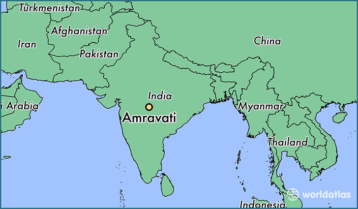 map showing the location of Amravati