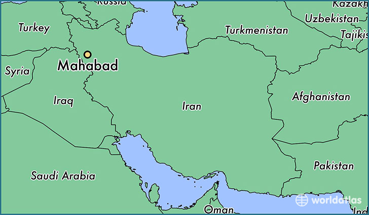 map showing the location of Mahabad