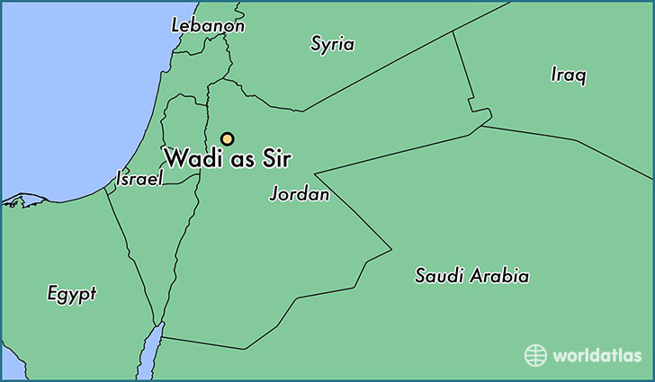 map showing the location of Wadi as Sir
