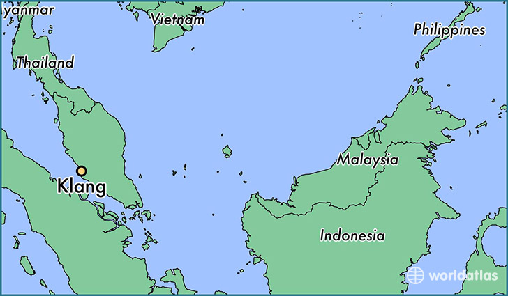 map showing the location of Klang