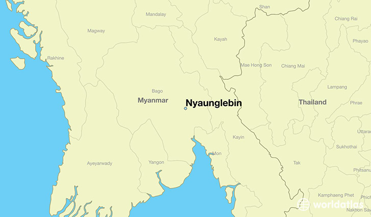 map showing the location of Nyaunglebin