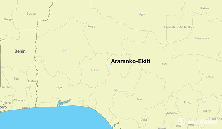 map showing the location of Aramoko-Ekiti