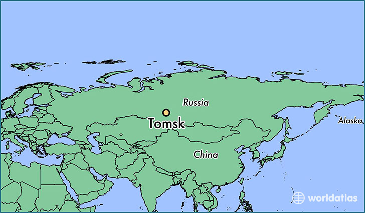 map showing the location of Tomsk