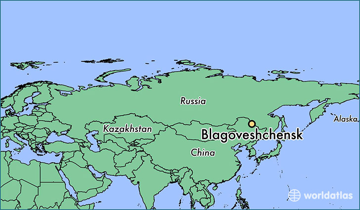 map showing the location of Blagoveshchensk