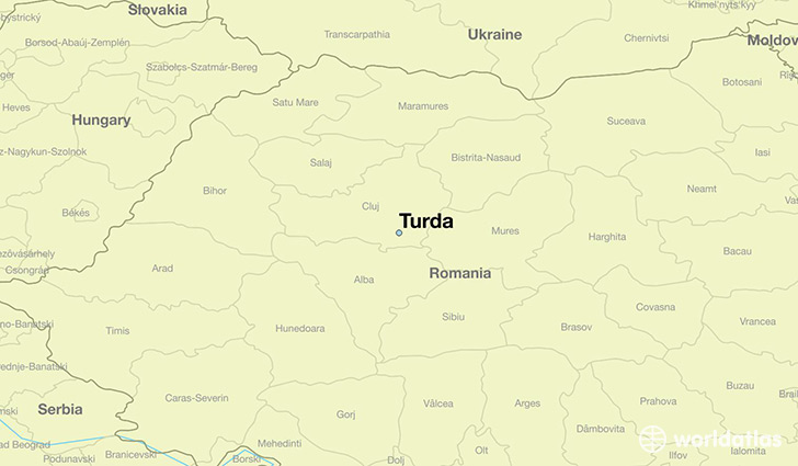 map showing the location of Turda