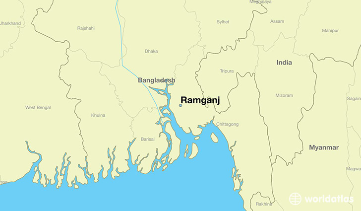 map showing the location of Ramganj