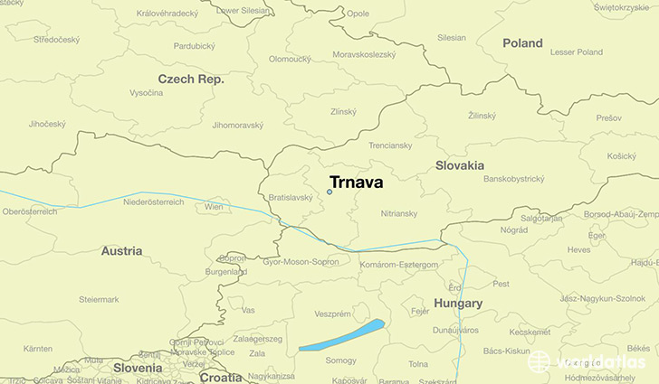 map showing the location of Trnava