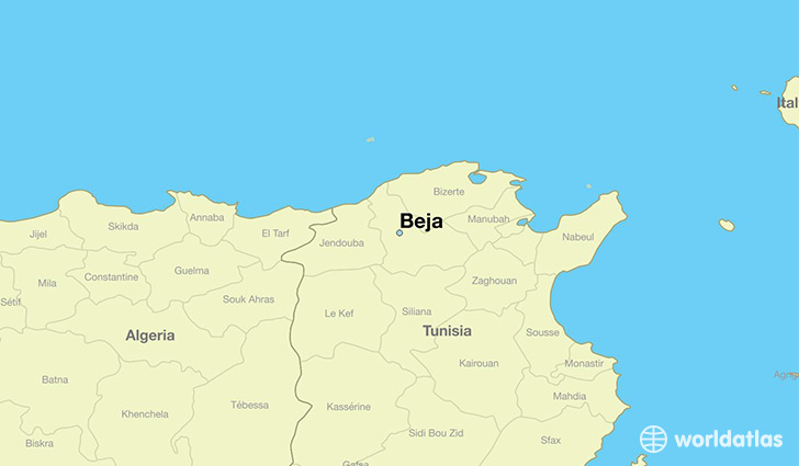 Where is Beja Tunisia Beja Bajah Map WorldAtlascom