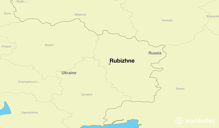 map showing the location of Rubizhne