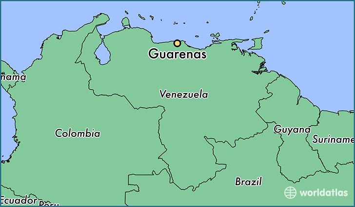 map showing the location of Guarenas