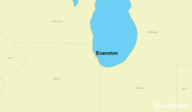 map showing the location of Evanston