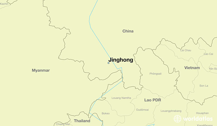 map showing the location of Jinghong