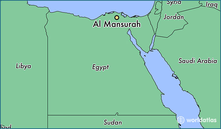 map showing the location of Al Mansurah