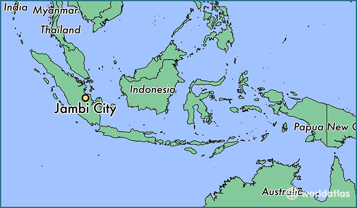 map showing the location of Jambi City