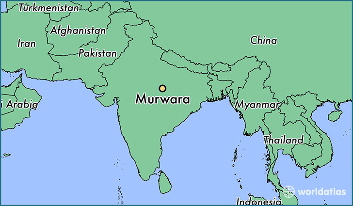 map showing the location of Murwara