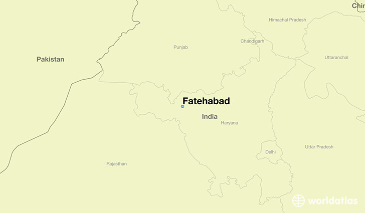 map showing the location of Fatehabad