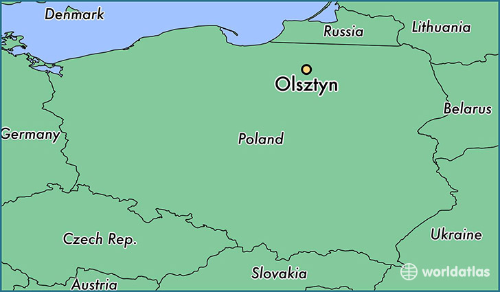 map showing the location of Olsztyn