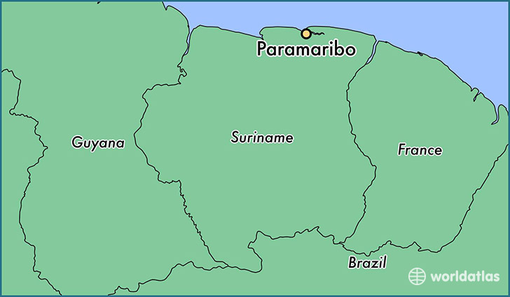 map showing the location of Paramaribo