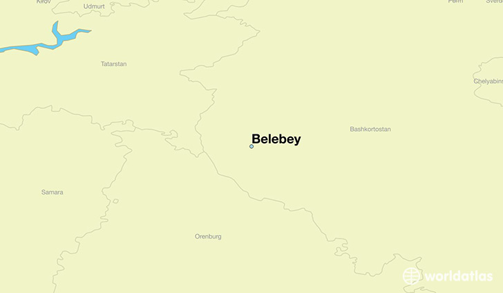 map showing the location of Belebey