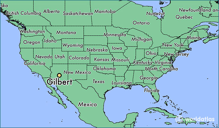 map showing the location of Gilbert