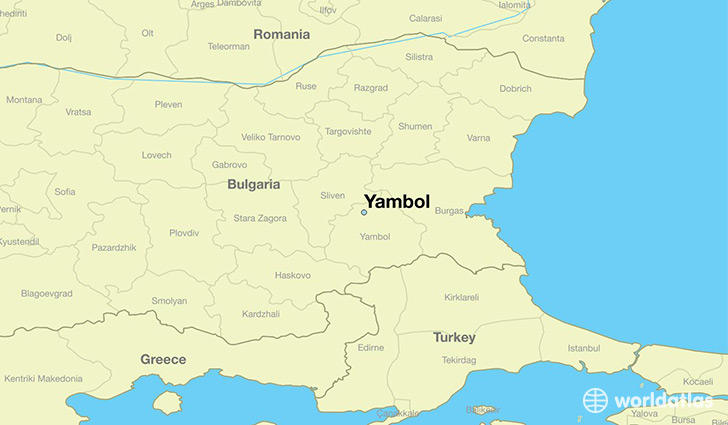 map showing the location of Yambol