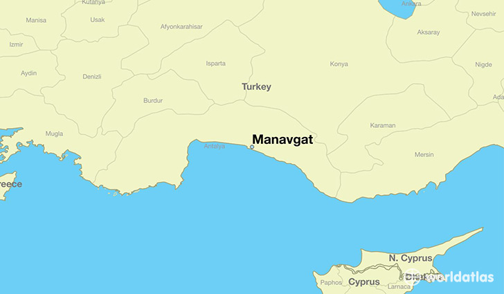 map showing the location of Manavgat