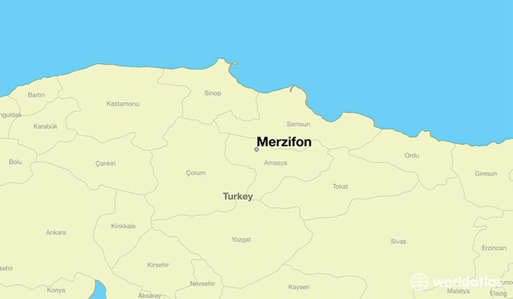 map showing the location of Merzifon