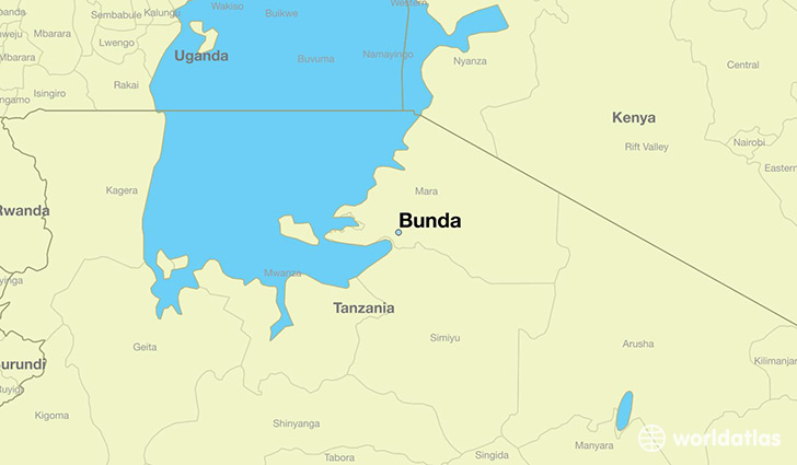 map showing the location of Bunda
