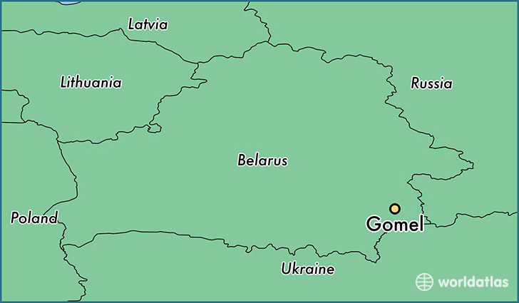 map showing the location of Gomel