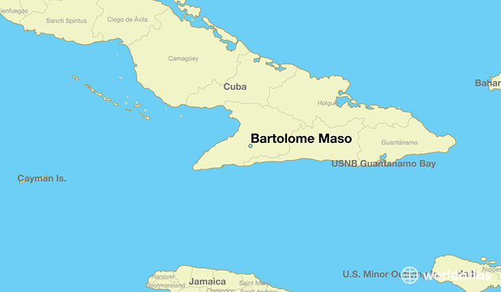map showing the location of Bartolome Maso