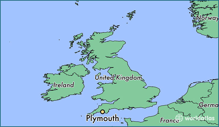 map showing the location of Plymouth
