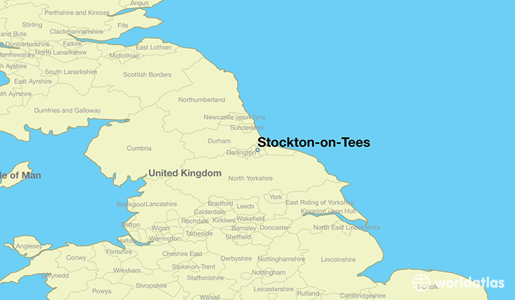 map showing the location of Stockton-on-Tees