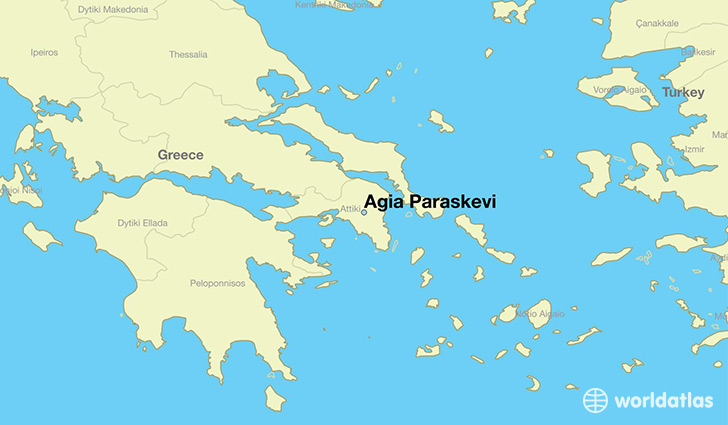 map showing the location of Agia Paraskevi