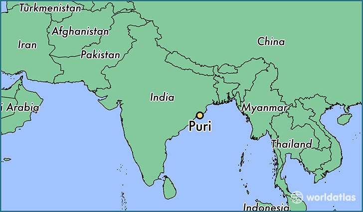 map showing the location of Puri