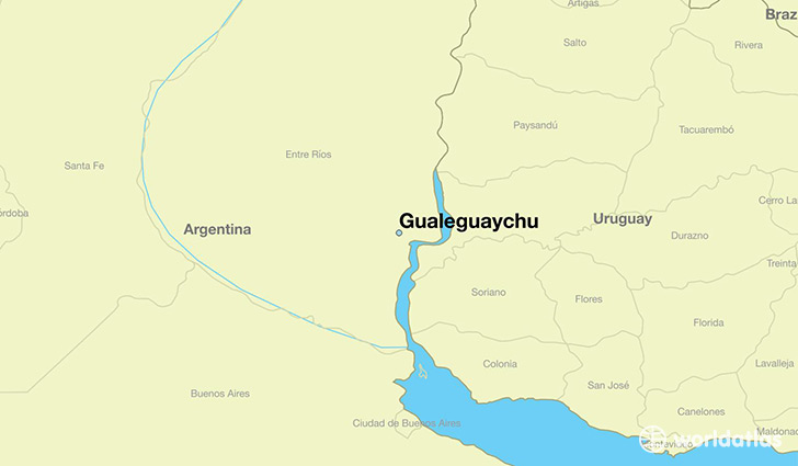 map showing the location of Gualeguaychu