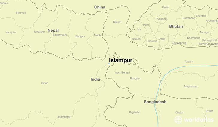 map showing the location of Islampur
