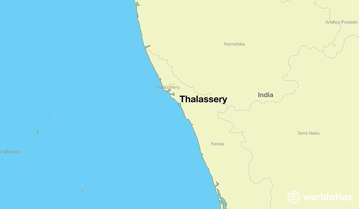 map showing the location of Thalassery