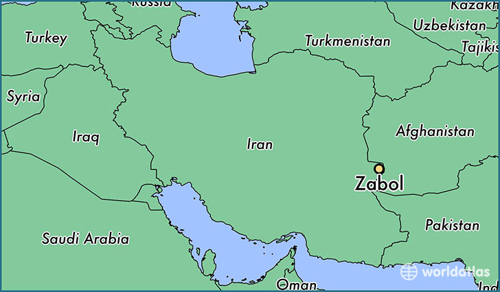 map showing the location of Zabol