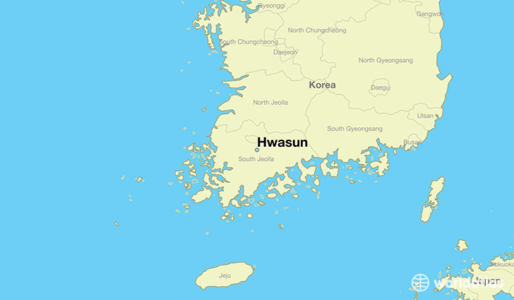map showing the location of Hwasun