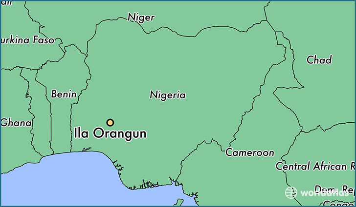 map showing the location of Ila Orangun