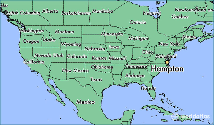 map showing the location of Hampton