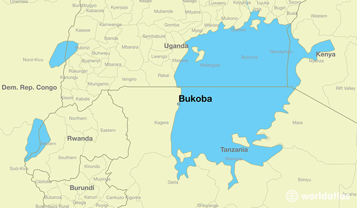 map showing the location of Bukoba