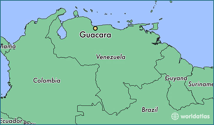 map showing the location of Guacara
